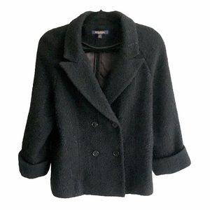 BROOKS BROTHERS Boiled Wool Double Breasted Black